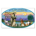 St Francis / dogs-cats Sticker (Rectangle 10 pk)