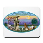 St Francis / dogs-cats Mousepad