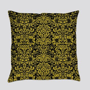 DAMASK2 BLACK MARBLE & YELLOW LEAT Everyday Pillow