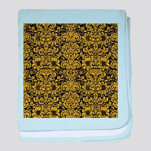 DAMASK2 BLACK MARBLE & YELLOW LEATHER baby blanket
