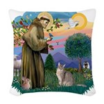 StFran(f)-Abyssinian (bl) Woven Throw Pillow