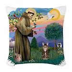St. Fran (ff) - Brown Tabby Woven Throw Pillow