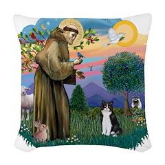 St. Fran (ff) - Black/white c Woven Throw Pillow
