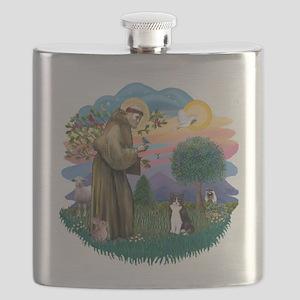 St. Fran (ff) - Black/white c Flask