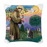 St. Fran (f)-Tabby/white cat Woven Throw Pillow