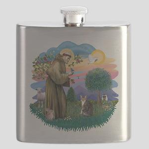 St. Fran (f)-Tabby/white cat Flask