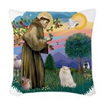 St. Fran (ff) - White Persian Woven Throw Pillow
