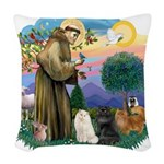 St. Fran (ff) - 3 Persian Cat Woven Throw Pillow