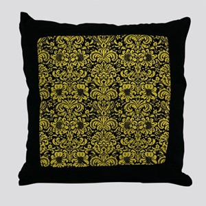 DAMASK2 BLACK MARBLE & YELLOW LEATHER Throw Pillow