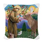 R-St Francis-ShetlandPONY Woven Throw Pillow