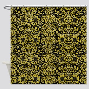 DAMASK2 BLACK MARBLE & YELLOW LEATH Shower Curtain