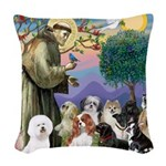 St Francis-10dogs Woven Throw Pillow