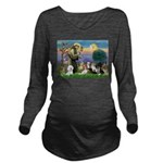 St Francis-10dogs Long Sleeve Maternity T-Shirt