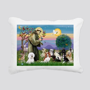 St Francis-10dogs Rectangular Canvas Pillow