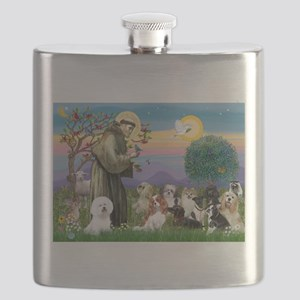 St Francis-10dogs Flask