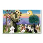 St Francis-10dogs Sticker (Rectangle)