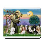St Francis-10dogs Mousepad
