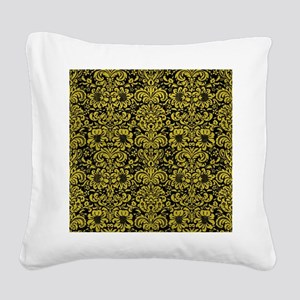 DAMASK2 BLACK MARBLE & YELLOW Square Canvas Pillow