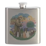 StFrancis-ff-7 cats-BorderCollie Flask