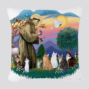 St Francis 2 - 7 Cats Woven Throw Pillow