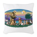St. Fran (Ov)-Dogs-Cats-Hrs Woven Throw Pillow