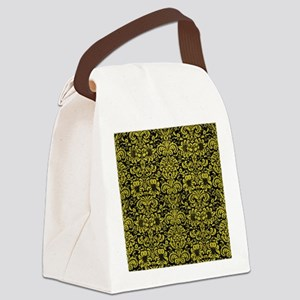 DAMASK2 BLACK MARBLE & YELLOW LEA Canvas Lunch Bag