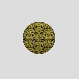 DAMASK2 BLACK MARBLE & YELLOW LEATHER Mini Button