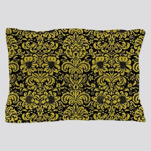 DAMASK2 BLACK MARBLE & YELLOW LEATHER Pillow Case