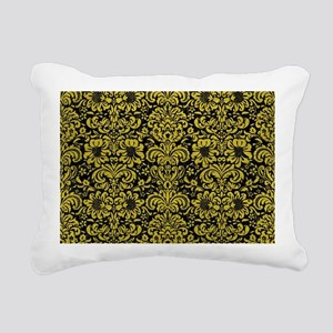 DAMASK2 BLACK MARBLE & Y Rectangular Canvas Pillow