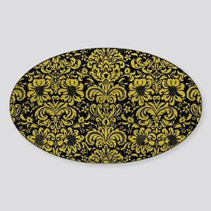 DAMASK2 BLACK MARBLE & YELLOW LEATH Sticker (Oval)