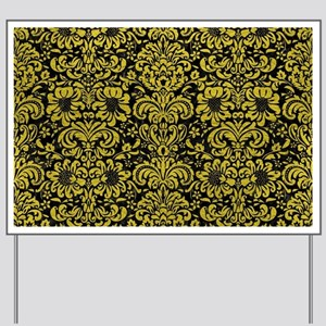 DAMASK2 BLACK MARBLE & YELLOW LEATHER (R Yard Sign