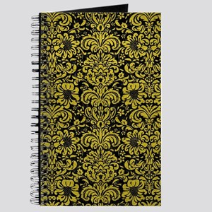 DAMASK2 BLACK MARBLE & YELLOW LEATHER (R) Journal