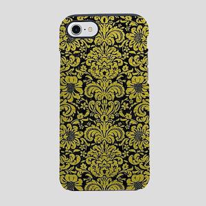 DAMASK2 BLACK MARBLE & YELLO iPhone 8/7 Tough Case