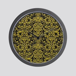 DAMASK2 BLACK MARBLE & YELLOW LEATHER ( Wall Clock