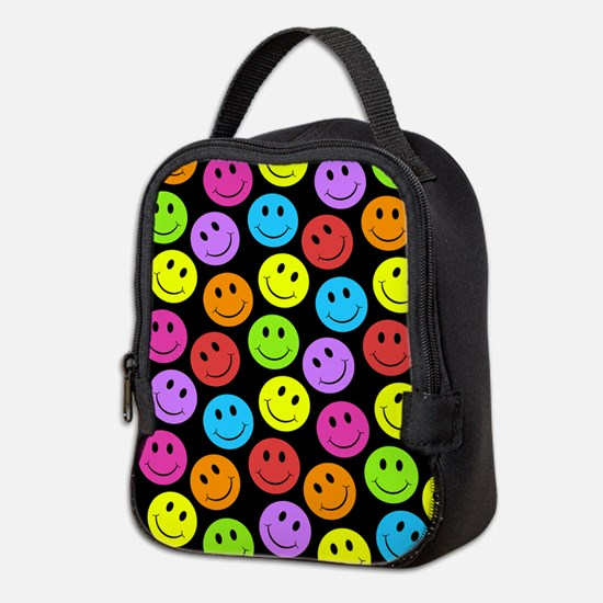 Happy Colorful Smiley Faces Pat Neoprene Lunch Bag