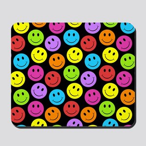 Happy Colorful Smiley Faces Pattern Mousepad