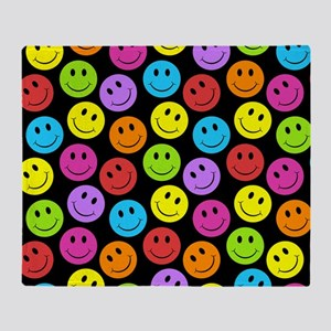 Happy Colorful Smiley Faces Pattern Throw Blanket