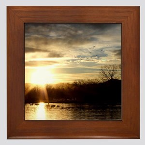 SETTING SUN AT LAKE Framed Tile