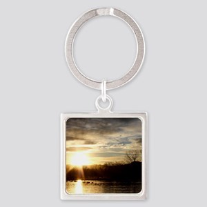 SETTING SUN AT LAKE Square Keychain