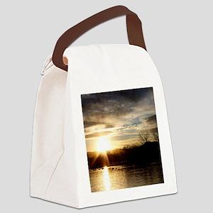 SETTING SUN AT LAKE Canvas Lunch Bag
