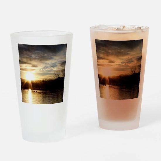SETTING SUN AT LAKE Drinking Glass