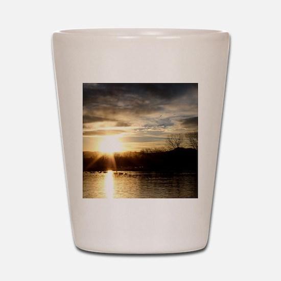 SETTING SUN AT LAKE Shot Glass