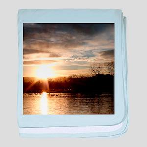 SETTING SUN AT LAKE baby blanket