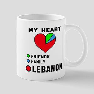 My Heart Friends, Family and Leb 11 oz Ceramic Mug