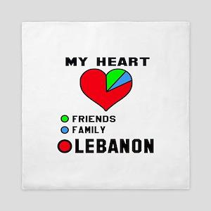 My Heart Friends, Family and Lebanon Queen Duvet