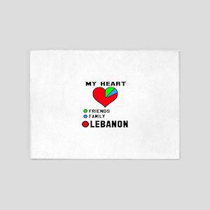 My Heart Friends, Family and Lebano 5'x7'Area Rug