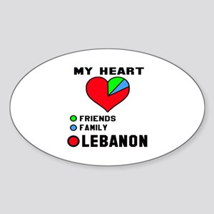 My Heart Friends, Family and Lebano Sticker (Oval)