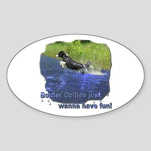 Border Collie Oval Sticker