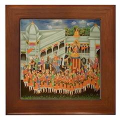 Mughal Procession Framed Tile