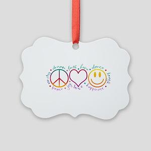 Peace Love Laugh Inspiration Desi Picture Ornament